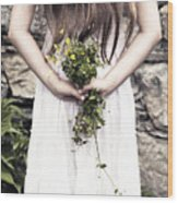 Girl With Flowers Wood Print
