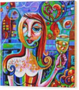 Girl With Glass Of Chardonnay Wood Print