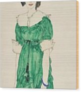 Girl With Green Dress Wood Print