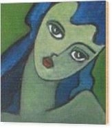 Girl With Green Eye Wood Print