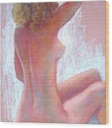 Girl With Green Hair Wood Print
