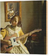 Girl With Guitar Wood Print
