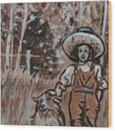 Girl With Hat And Dog Historical Vignette Wood Print