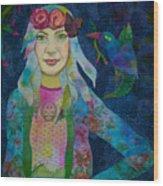Girl With Kaleidoscope Eyes Wood Print