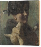 Girl With Lamb In Her Arms Wood Print