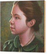Girl With Locket Wood Print
