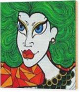 Girl With Lush Green Hair. Wood Print