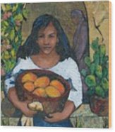 Girl With Mangoes Wood Print