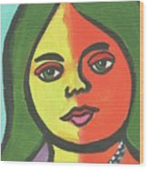 Girl With Necklace Wood Print