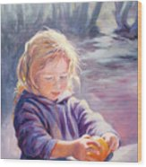 Girl With Orange Wood Print