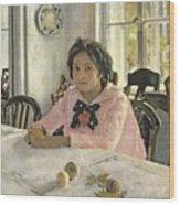 Girl With Peaches Wood Print by Valentin Aleksandrovich Serov