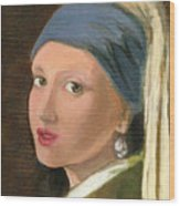 Girl With Pearl Earring Of Vermeer Wood Print