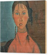 Girl With Pigtails Wood Print