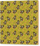 Girl With Popsicle Yellow Floral Wood Print