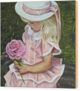 Girl With Rose Wood Print