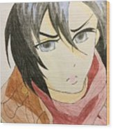 Girl With Scarf Wood Print