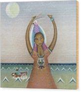 Girl With Sea Wood Print