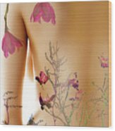 Girl With Spring Tattoo Wood Print