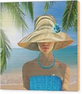 Girl With Summer Hat Wood Print
