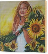 Girl With Sunflowers Wood Print