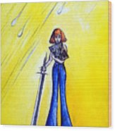Girl With Sword. Astral Traveler Wood Print