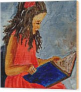 Girl With The Book Wood Print