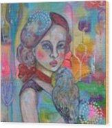 Girl With Nicobar Bird Original Canvas Painting Wood Print