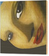 Girl With The Pearl Earring Close Up Wood Print