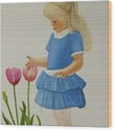 Girl With Tulips Wood Print