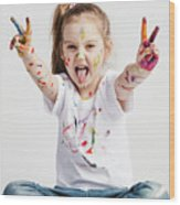 Girl With Victory Sign Sticking Out Her Tounge Wood Print