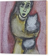 Girl With White Cat Wood Print