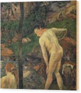 Girls Bathing Wood Print