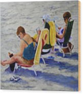 Girls Day At  The Beach Wood Print