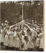 Girls  Doing The Maypole Dance Pacific Grove Circa 1890 Wood Print