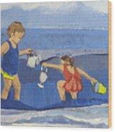 Girls On Beach Wood Print