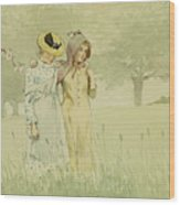 Girls Strolling In An Orchard Wood Print