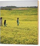 Girls Walking In The Field Wood Print