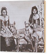 Girls With Pronghorn Fawns Historical Vignette From River Mural Wood Print