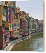 Girona Riverfront Wood Print