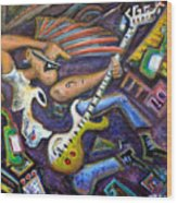 Give Em The Boot - Punk Rock Cubism Wood Print by Jason Gluskin
