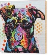 Give Love Pitbull Wood Print