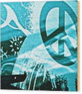 Give Peace A Shirt Wood Print by Chuck Taylor