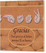 Give Thanks Spanish Wood Print