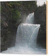 Glacier Falls Wood Print