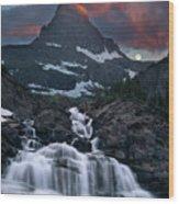 Glacier Morning Waterfall And Moonset Wood Print