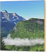 Glacier Mountain Above The Fog Wood Print