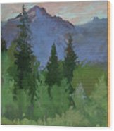 Glacier Nat'l Park - Plein Air -  Rising Wolf Ranch Wood Print