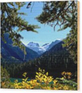 Glacier Over Joffre Lake Wood Print