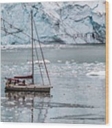Glacier Sailing Wood Print