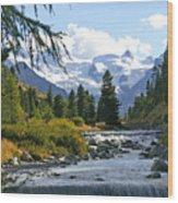 Glacier Stream Wood Print